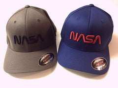 189519f6e33 NASA Worm Logo Flexfit Structured Twill Cap with  Puffy  Style ...