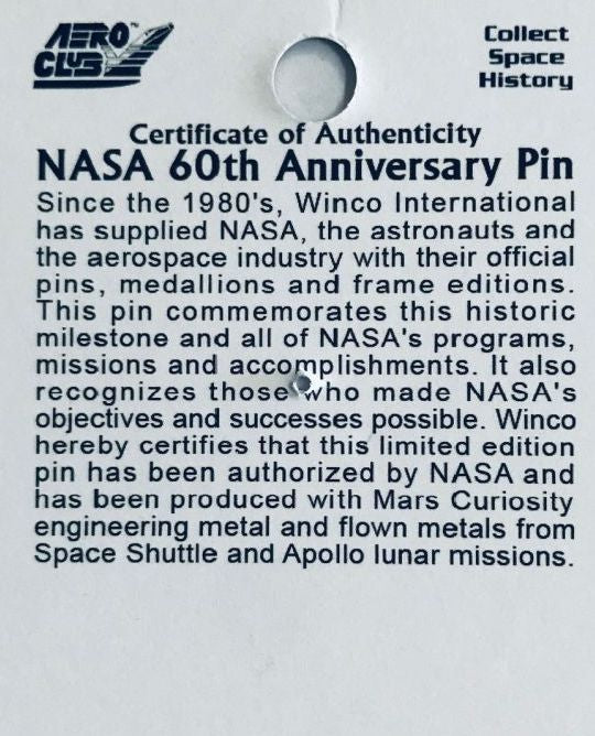 NASA 60TH ANNIVERSARY Official Limited Edition Lapel Pin