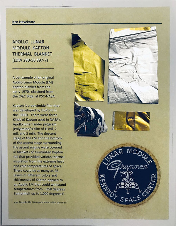 APOLLO LUNAR MODULE KAPTON THERMAL BLANKET (LDW-280-56-897-7) - The Space Store