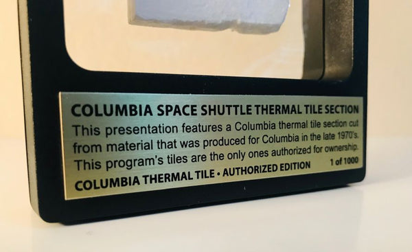 2-View Frame Limited Edition Columbia Space Shuttle Thermal Tile Presentation - The Space Store