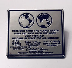 APOLLO 11 LUNAR PLAQUE LEFT ON THE MOON - LAPEL PIN