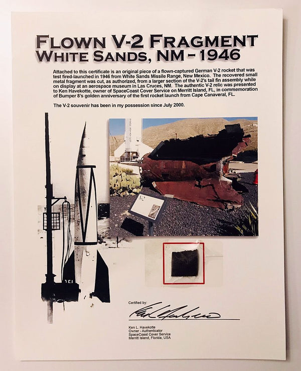 FLOWN V-2 FRAGMENT, WHITE SANDS, NM 1946 - The Space Store