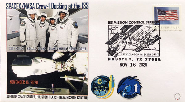 NASA - SPACEX Crew-1 Docking Cover with Crew-1 Astronaut image.