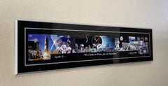 "'For all Mankind'  Apollo 11 Montage Panorama Plaque Signed by Buzz Aldrin  33"" x 9"""