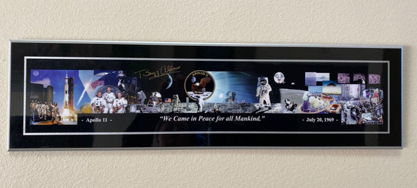 'For all Mankind'  Apollo 11 Montage Panorama Plaque Signed by Buzz Aldrin  33