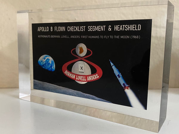 APOLLO 8 FLOWN HEATSHIELD + CHECKLIST ACRYLIC