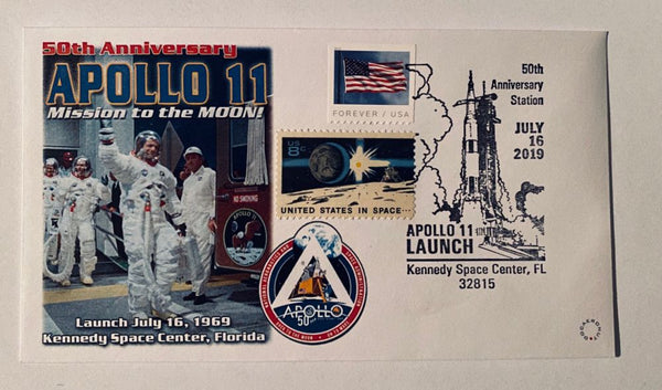 50TH Anniversary APOLLO 11 Mission to the Moon Cover w/ July 16 launch photo. - The Space Store