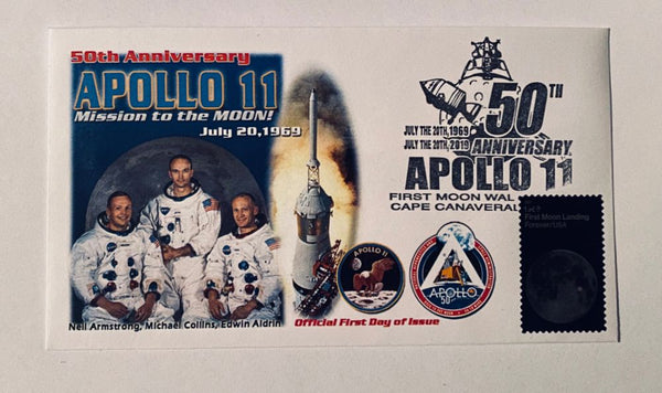 50TH Anniversary APOLLO 11 Mission to the Moon Cover w/ APOLLO 11 CREW PORTRAIT - The Space Store