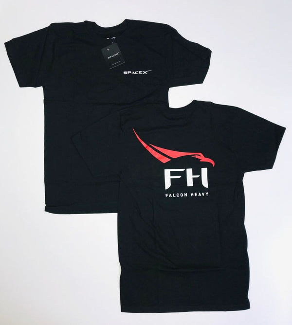 SPACEX FALCON HEAVY ADULT T-SHIRT IN BLACK