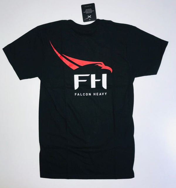 SPACEX FALCON HEAVY ADULT T-SHIRT IN BLACK - The Space Store