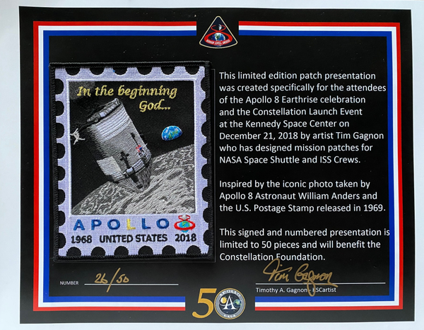 Apollo 8 Limited Edition Patch - numbered and signed by artist Tim Gganon - The Space Store