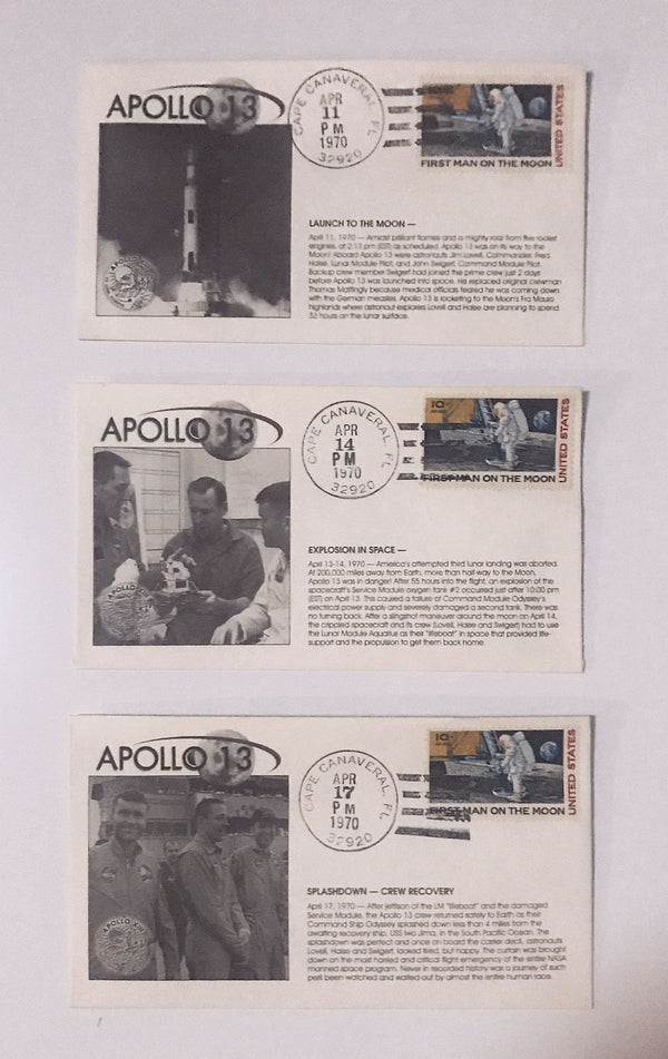 Apollo 13 Set of 3 Covers: Launch, Explosion in Space, Recovery - The Space Store