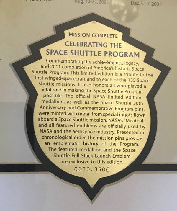 Celebrating the Space Shuttle Program - consigned. #30 of 3500