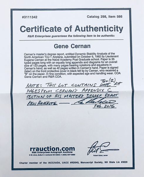 GENE CERNAN SIGNED SPACESHOTS CARD + CERNAN'S HAND WRITTEN MASTER'S DEGREE REPORT