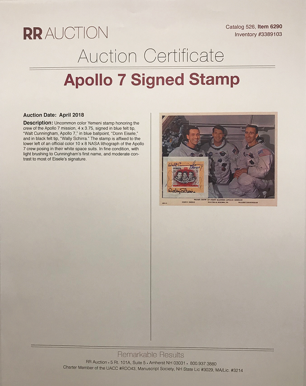APOLLO 7 CREW AUTOGRAPHED PHOTO - The Space Store