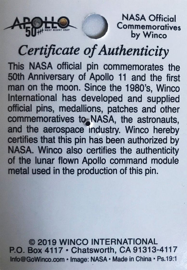 Apollo 50th Official NASA Edition Bootprint Lapel Pin (with flown metal) - The Space Store