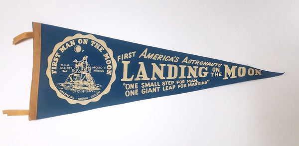 Vintage Apollo 11 Moon Landing Pennant in Red or Black