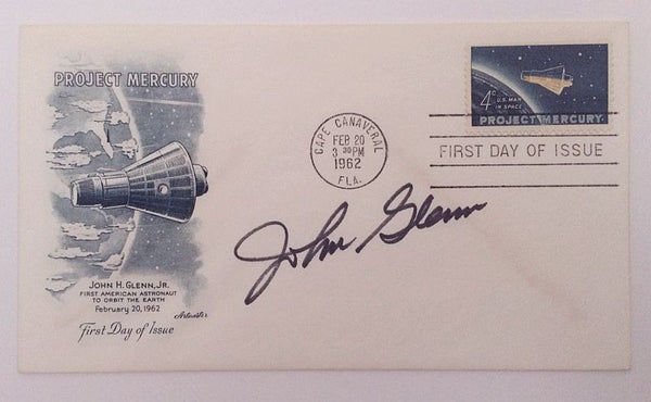 JOHN GLENN HAND SIGNED MERCURY 'FRIENDSHIP 7' LAUNCH COVER - The Space Store