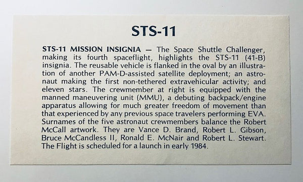 STS-11 AUTOGRAPHED COVER  (STS-41B) - The Space Store