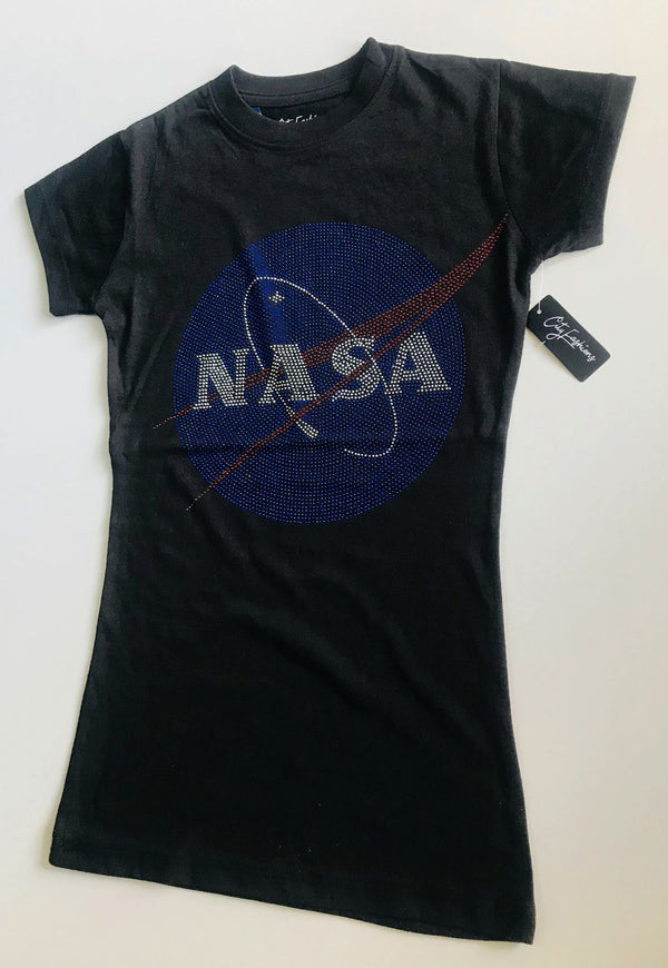LADIES NASA RHINESTONE LOGO T-SHIRT - The Space Store