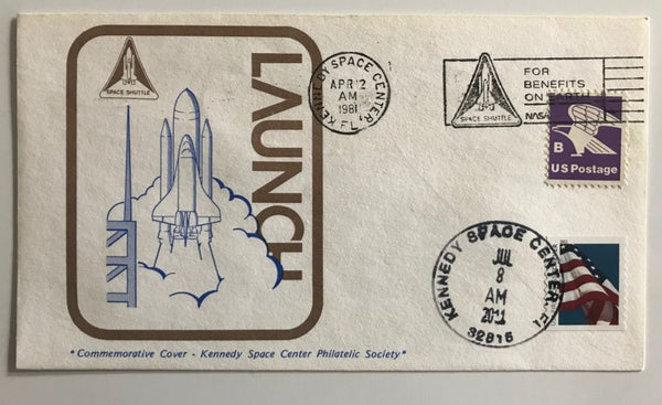 Space Shuttle 'Launch' Postmarked Envelope 1981 - 2011 Postmarks both dates - The Space Store