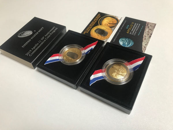 2019 Apollo 11 Clad Commemorative Half Dollar Proof w/24K Gold & Black Ruthenium - The Space Store