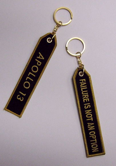 "Apollo 13"" and ""Failure is Not an Option"" - Keychain in Gold & Black"