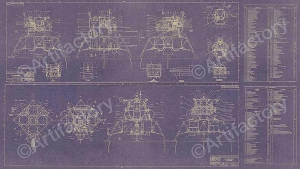 "LEM Component Layout 18"" x 32"" Blueprint - The Space Store"