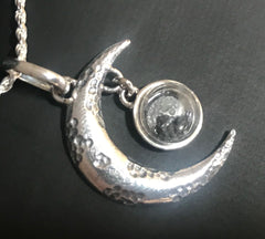 Moon Pendant with real lunar meteorite granules - with 3 to 4 lunar meteorite pieces