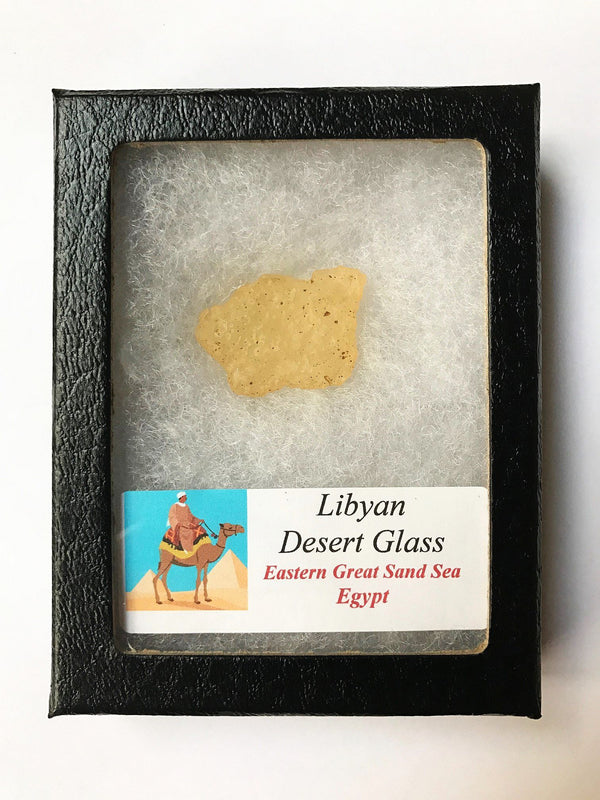 LIBYAN DESERT GLASS in Glass Display Case