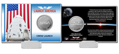 Launch America Spacex Dragon Crew Capsule Silver Coin Photo Mint Card