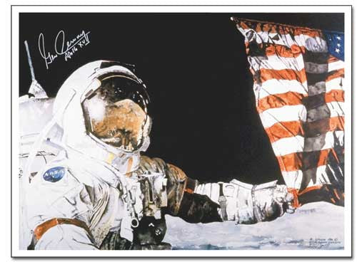 Our Legacy Framed - by Ron Woods - signed by Gene Cernan - The Space Store