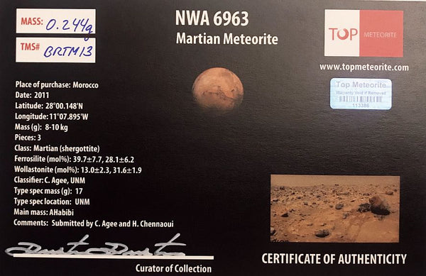 NWA 6963 MARTIAN METEORITE 0.244 gram in Display Box