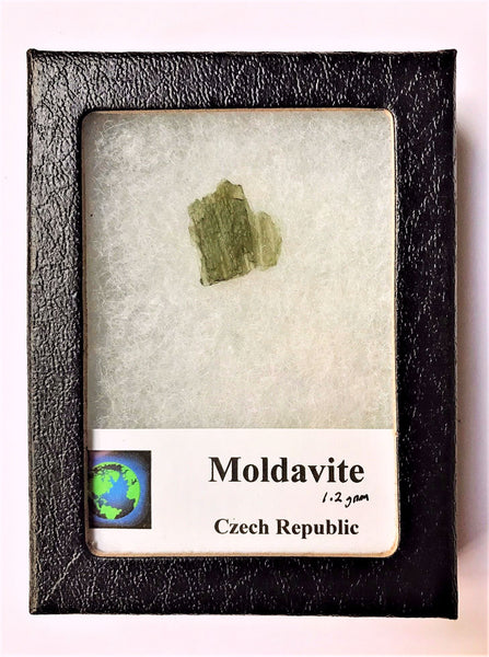 MOLDAVITE in Glass Display Case