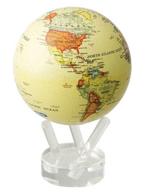Mova Globe Revolving Antiqued Beige Earth 4.5-inch