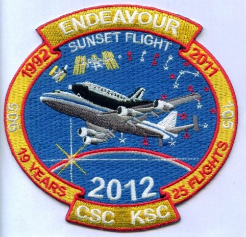 "'Endeavour's Sunset Flight'  4.5"" x 4.25"" Patch - The Space Store"