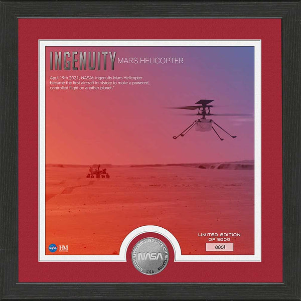 Mars Ingenuity Helicopter First Powered Flight on Mars Silver Coin Photo Mint