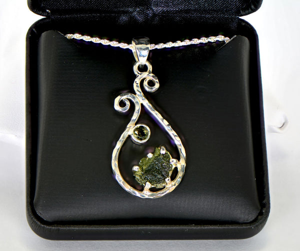 "Moldavite Pendant that includes an 18"" sterling silver chain and giftbox - The Space Store"