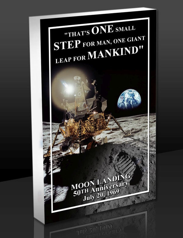 'ONE SMALL STEP FOR MANKIND' APOLLO ACRYLIC 3D BLOCK-ART - The Space Store