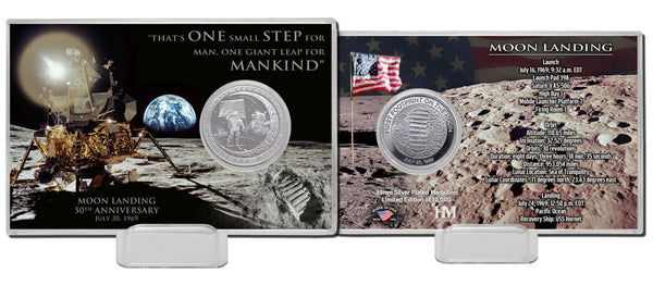 Moon Landing 50th Anniversary Silver Mint Coin Card - The Space Store