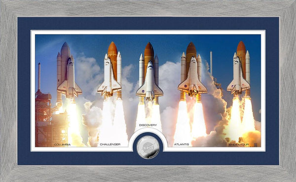 Space Shuttle Frame with the 5 Space Shuttle with Space Shuttle Coin