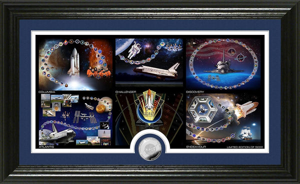 Space Shuttle Frame with the 5 Shuttle Montages with Space Shuttle Coin