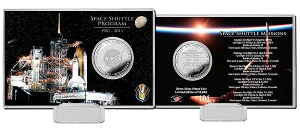 Space Shuttle Program Night Silver Coin Card - The Space Store