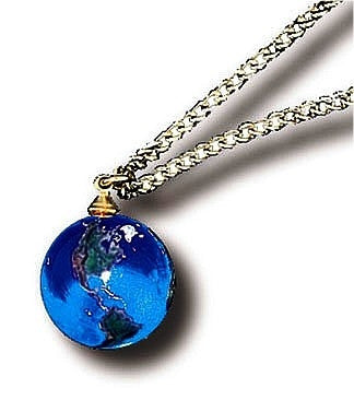 Blue Earth Marble Necklace with Gold Fill Chain