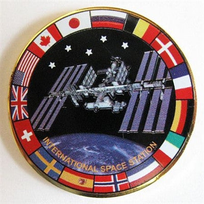 International Space Station Lapel Pin with Flags