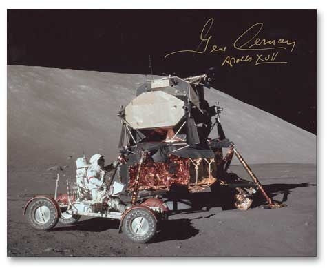 Autographed 16 x 20 Photo - Gene Cernan Rover and LM