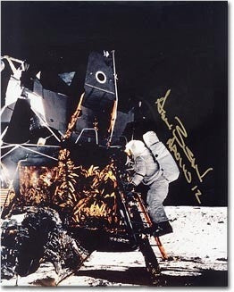 Autographed Photo - Alan Bean on Ladder