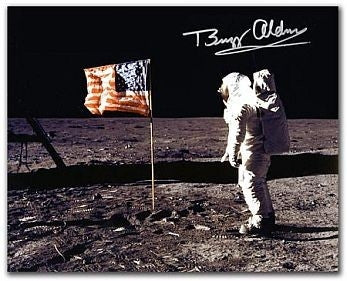 Autographed Photo - Buzz Aldrin 'Flag' - The Space Store