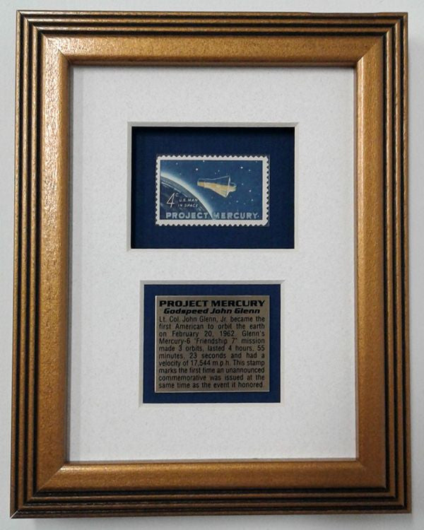 PROJECT MERCURY FRAME, featuring a 'FRIENDSHIP 7' STAMP - The Space Store