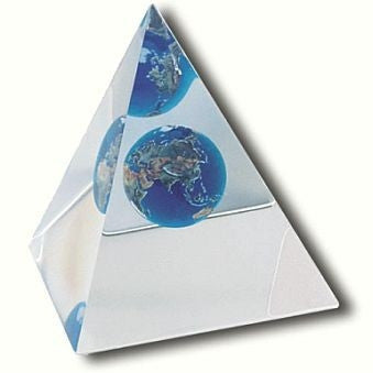 Beveled Pyramid Earth Marble Paperweight